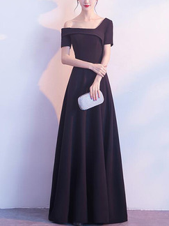 Black Slim Inclined-Shoulder High Waist Maxi One Shoulder Dress for Party Evening Cocktail Prom Bridesmaid