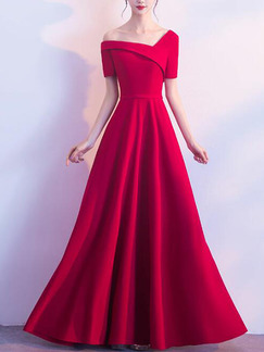 Red Slim Inclined-Shoulder High Waist Maxi One Shoulder Dress for Party Evening Cocktail Prom Bridesmaid