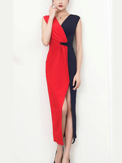 Red and Dark Blue Slim Contrast Furcal Maxi V Neck Wrap Dress for Party Office Evening Cocktail