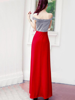 Gray and Red Slim Contrast Off-Shoulder Maxi  Dress for Party Evening Cocktail Prom Bridesmaid