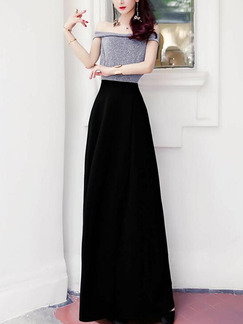 Gray and Black Slim Contrast Off-Shoulder Maxi  Dress for Party Evening Cocktail Prom Bridesmaid