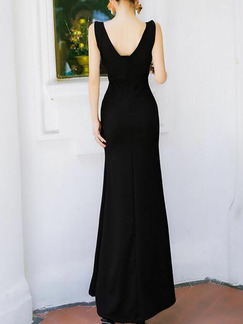 Black Slim Over-Hip Furcal Maxi V Neck Bodycon Dress for Party Evening Cocktail Prom Bridesmaid