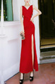 Red Slim Over-Hip Furcal Maxi V Neck Bodycon Dress for Party Evening Cocktail Prom Bridesmaid