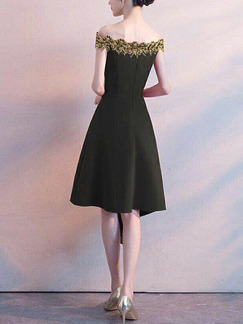Black Slim Embroidery Off-Shoulder Midi Fit & Flare Dress for Party Evening Cocktail Prom Bridesmaid