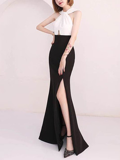 Black and White Slim Contrast Hang Neck Furcal Maxi Halter Bodycon Dress for Party Evening Cocktail Prom Bridesmaid