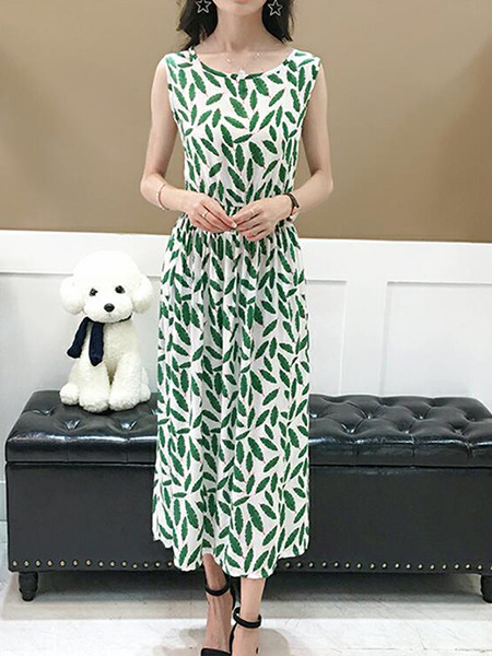White and Green Slim Printed High Waist Midi Dress for Casual Party