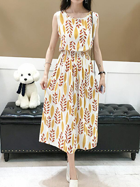 Yellow Red and White Slim Printed High Waist Midi Dress for Casual Party