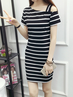 Black and White Slim Contrast Stripe Off-Shoulder Above Knee Bodycon Dress for Casual Party