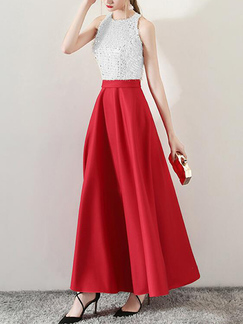 White and Red Slim Contrast High Waist Maxi  Dress for Evening Cocktail Prom Bridesmaid