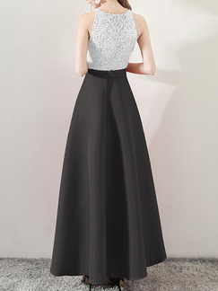 White and Black Slim Contrast High Waist Maxi  Dress for Evening Cocktail Prom Bridesmaid