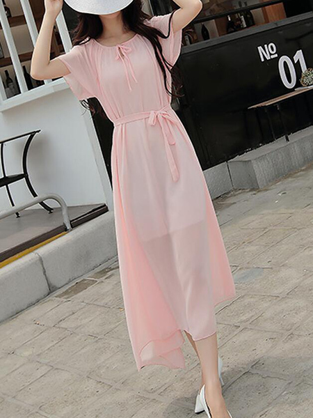 Pink Slim Band Midi Dress for Casual Party