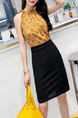 Yellow and Black Slim Printed Over-Hip Halter Bodycon Dress for Casual Party Office Nightclub