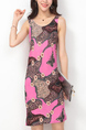 Pink Colorful Slim Printed Over-Hip Above Knee Dress for Casual Party