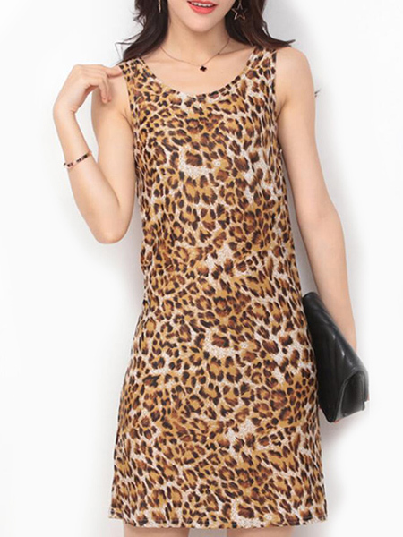 Leopard Slim Printed Over-Hip Above Knee Dress for Casual Party