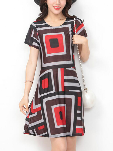 Colorful Slim Contrast Located Printing Above Knee Dress for Casual Party