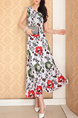 White Colorful Slim Printed High Waist Maxi  Dress for Casual Party