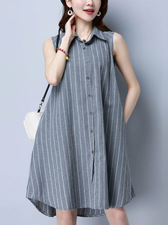 Grey and White Plus Size Stripe Cardigan Lapel Full Skirt Asymmetrical Hem Shift Above Knee Dress for Casual Party