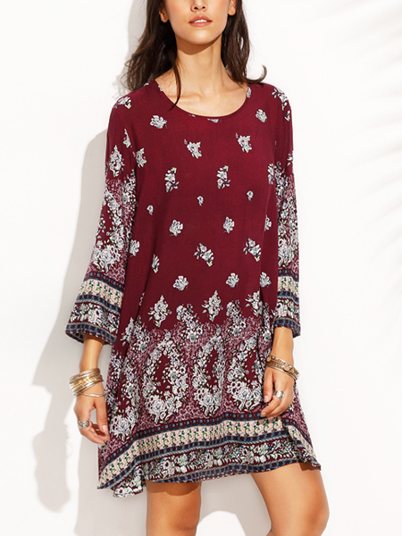 Wine Red and Colorful Plus Size Loose Round Neck Located Printing Shift Above Knee Dress for Casual Party