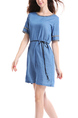 Blue Plus Size Loose Band Denim Patch Embroidered Shift Above Knee Dress for Casual Party