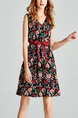 Colorful Plus Size V Neck Printed Adjustable Waist Band Floral Above Knee Dress for Casual Party