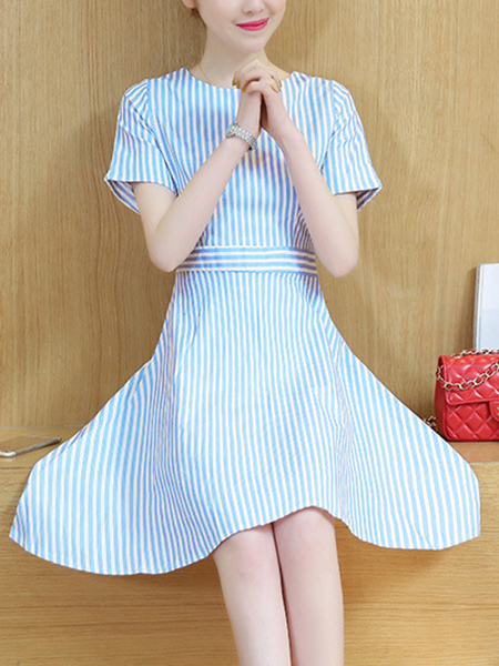 Blue and White Plus Size Stripe Slim A-Line Fit & Flare Above Knee Dress for Casual Party
