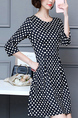 Black and White Plus Size Slim A-Line  Polka Dot Printed Above Knee Fit & Flare Dress for Casual Party Office