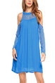 Blue Plus Size Lace Linking Off-Shoulder Placket Front Shift Long Sleeve Above Knee Dress for Casual Party Evening