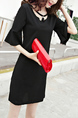 Black Plus Size Linking Flare Sleeve Tassels Shift Above Knee Dress for Casual Party