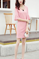 Pink Plus Size Linking Flare Sleeve Tassels Shift Above Knee Dress for Casual Party