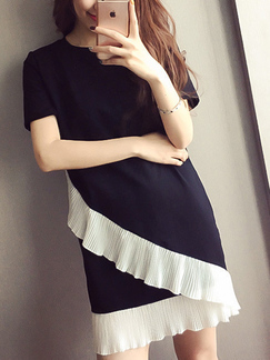 Black and White Plus Size Round Neck Linking Contrast Ruffled Shift Above Knee Dress for Casual Party