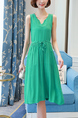 Green Plus Size Drawstring Slim V Neck Fit & Flare Above Knee Dress for Casual Party