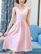 Pink Plus Size Drawstring Slim V Neck Fit & Flare Knee Length Dress for Casual Party