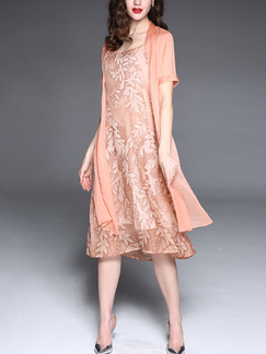Pink Chiffon Printed Plus Size Furcal Sling Shift Knee Length Dress for Casual