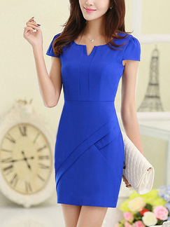 Blue Linking Slim V Neck Plus Size Sheath Above Knee Dress for Casual Party Office Evening