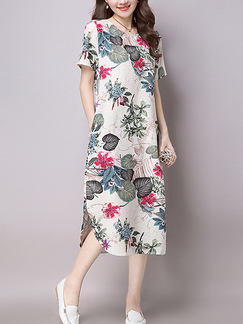 White and Colorful Plus Size Loose Asymmetrical Hem Furcal Printed Midi Floral Dress for Casual Party