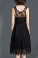 Black Lace Cutout Slim Linking Plus Size Zipped Knee Length Fit & Flare Dress for Party Evening Semi Formal