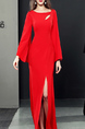 Red Slim Cutout Neck Over-Hip Furcal Maxi Long Sleeve Dress for Party Evening Cocktail Prom