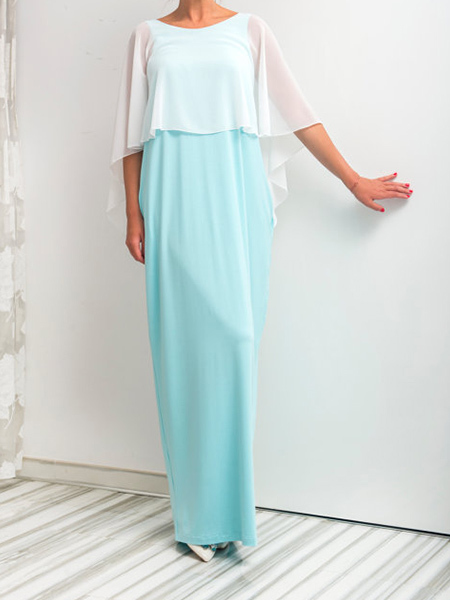 White and Aqua Plus Size Linking Open Back Round Neck Bat Maxi Dress for Party Evening Cocktail Prom