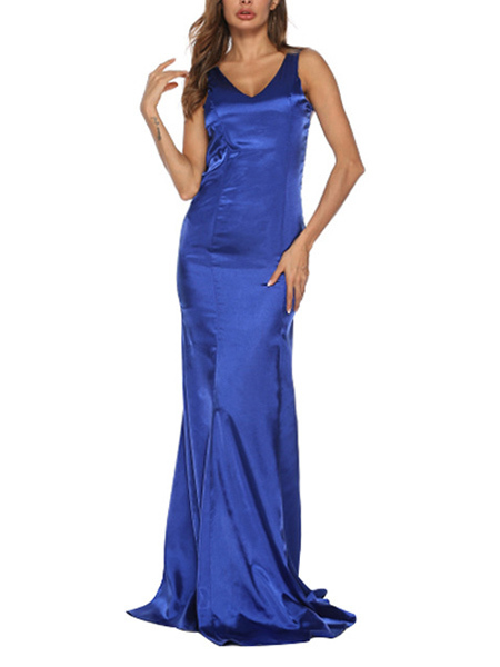 Blue Slim Fishtail Over-Hip V Neck Linking Lace See-Through Open Back Maxi Dress for Party Evening Cocktail Prom