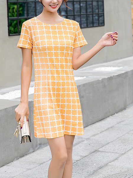 Yellow and White Plus Size Slim Printed Grid Round Neck Shift Above Knee Dress for Casual Party