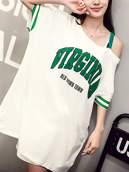 White and Green Plus Size Loose Letter Inclined-Shoulder Above Knee Shift Dress for Casual Sporty