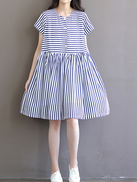 Blue and White Plus Size Loose A-Line Round Neck Stripe Band Belt Chiffon Single-breasted Above Knee Shift Dress for Casual Sporty