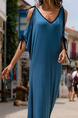 Blue and Black Plus Size Loose V Neck Off-Shoulder Maxi  Dress for Casual Beach