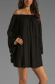 Black Chiffon Plus Size Loose Boat Neck Off-Shoulder Ruffled Long Sleeve Above Knee Dress for Party Evening Semi Formal