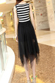Black and White  Linking Mesh Stripe Round Neck Asymmetrical Hem Dress for Casual Party
