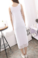 White and Black Round Neck Mesh Printed Letter Seem-Two Shift Dress for Casual