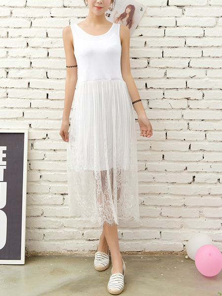 White Round Neck Lace Tassels Linking Midi Dress for Casual Party