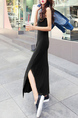 Black Slim V Neck Furcal Maxi  Dress for Casual Sporty