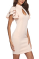 Beige Plus Size Cutout Neck Tight Over-Hip Flare Sleeve Bodycon Above Knee Dress for Party Evening Semi Formal