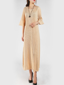 Apricot Round Neck Plus Size Loose Midi Flare Sleeve Stripe Midi Dress for Casual Party Evening Office